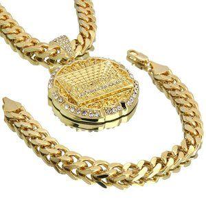 "14k Gold PT XL Cz 10mm 30"" Chain and Bracelet"